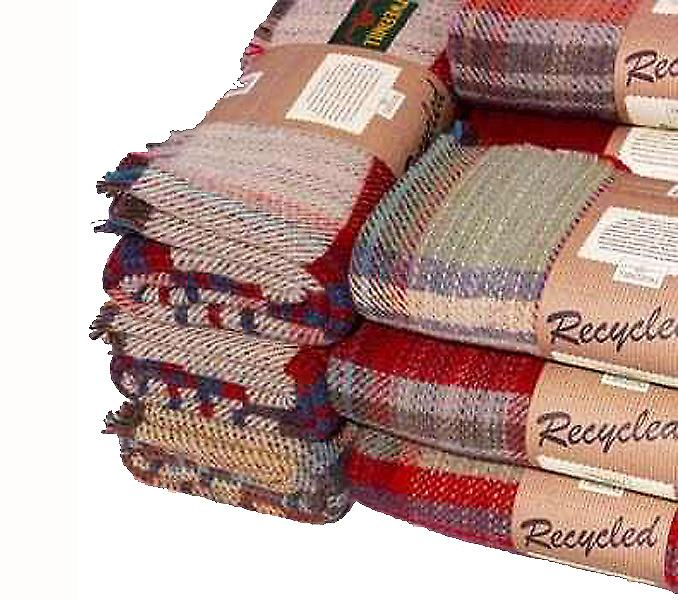 Recycled All Wool Random Throw or Picnic Blanket