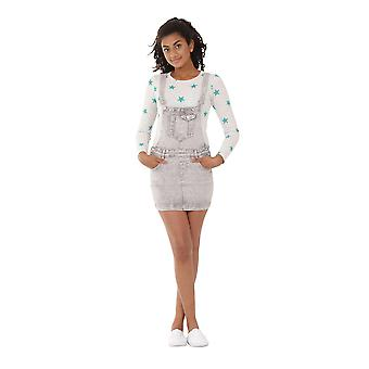 Grey Wash Denim Dungaree jurk 8-en 16-jarige meisje & tiener Bib totale rok