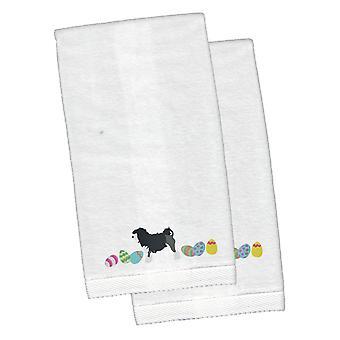 Lowchen påske hvid broderet Plys hånd håndklæde sæt af 2
