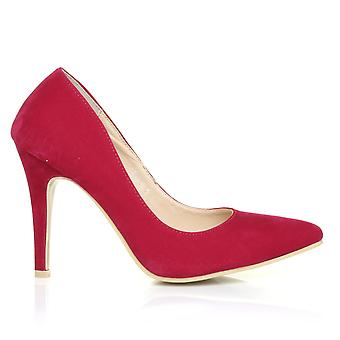 DARCY Fuchsia Faux Suede Stilleto High Heel Pointed Court Shoes