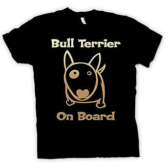 Mens T-shirt - Bull Terrier On Board - Funny