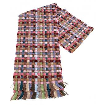Bassin and Brown Morley Small Check Wool Scarf - Light Brown/Pink
