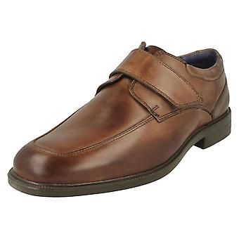Mens Padders Formal Hook & Loop Fastening Shoes Brent - Brown Leather - UK Size 8G - EU Size 42 - US Size 9