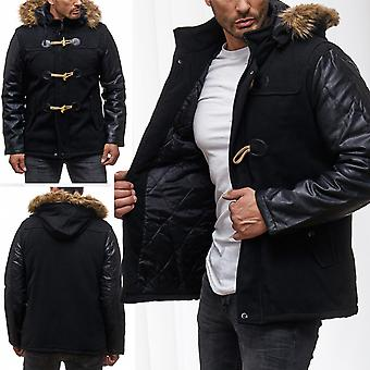 Men Parker Winter Jacket Biker Leather Quilted Jacket Winter
