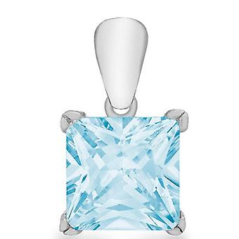 IBB London Princess Cut Cubic Zirconia Pendant - Silver/Light Blue