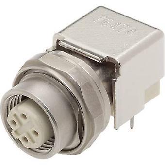 Harting 21 03 381 4410 Sensor/actuator built-in connector M12 PCB socket, mount No. of pins (RJ): 4 1 pc(s)