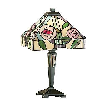 Interiör 1900 Willow enda ljus Tiffany glas litet bord Lam