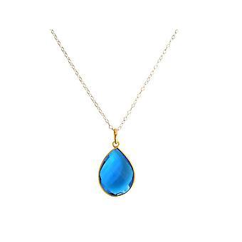 925 sølv - gull belagt - blå kvarts - Topaz - Gemshine - damer - kjede - CANDY - slipp - 60 cm