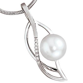 Trailer 585 gold white gold partially frosted 1 Freshwater Pearl 6 diamonds diamonds