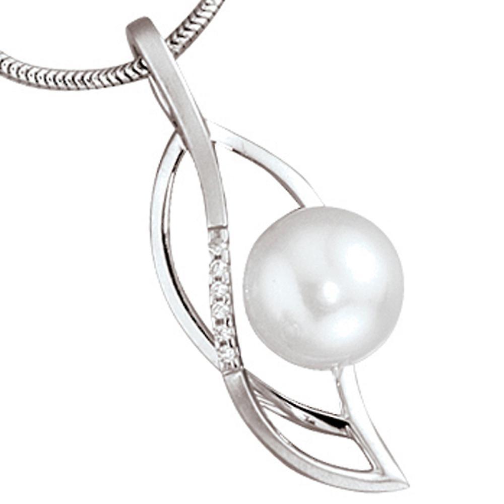 Anhänger 585 Gold Weißgold teilmattiert 1 Süßwasser Perle 6 Diamanten Brillanten