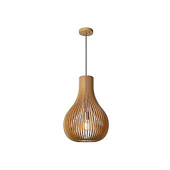 Lucide BODO Quirky Pale Wood Globe Ceiling Light Pendant