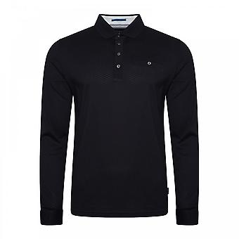 Ted Baker Mens Fruitpa Textured Long Sleeve Polo Shirt (Navy)