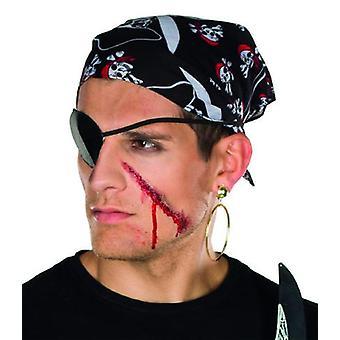 Negro, pañuelo de cabeza pirata con Totenkopfen impreso a accesorio pirata de carnaval Halloween