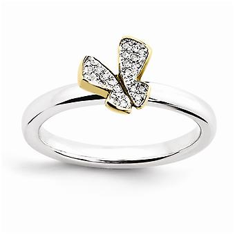Sterling Silver Polished Prong set Rhodium-plated Stackable Expressions Gold-FlashedButterfly Dia. Ring - Ring Size: 5 t