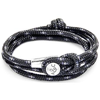 Anchor and Crew Dundee Silver and Rope Bracelet - Black