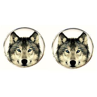 Bassin und braune Runde Polarwolf Manschettenknöpfe - weiß