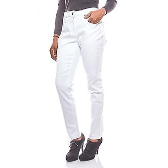 Cheer simple women's jeans with embroidery white