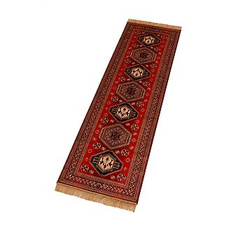 Red Afghan Kazak Artsilk Faux Silk Effect Hall Runner Rugs 9379/12