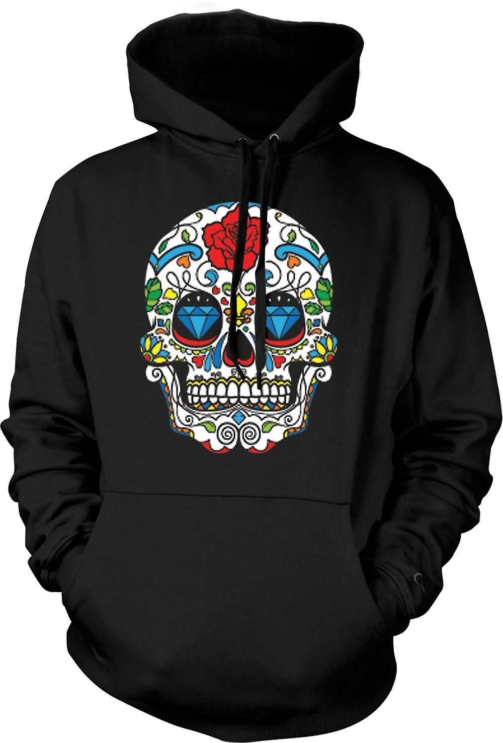 Mens Hoodie - cranio messicano dello zucchero - Dia De Los Muertos