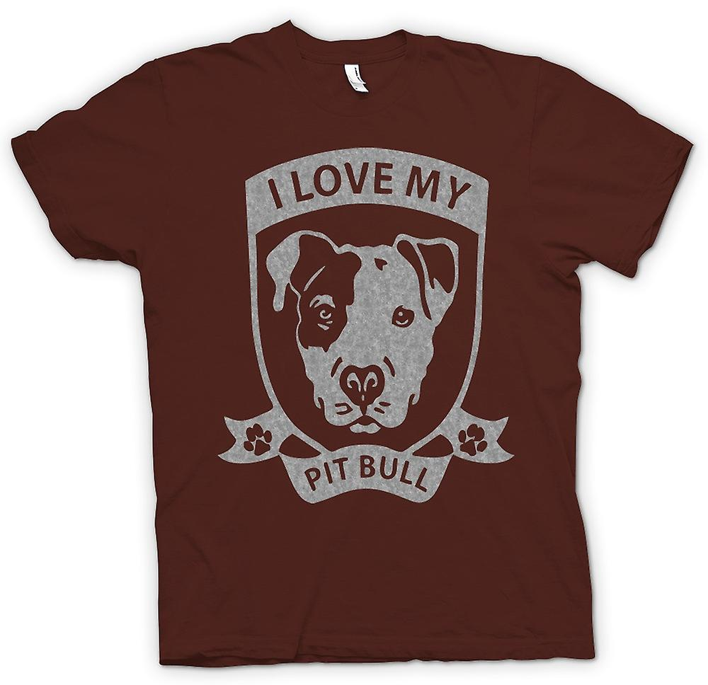 Hommes T-shirt - I Love My Pitbull