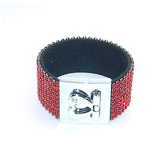 Red Cuff Bracelet With Rhinestones by The Olivia Collection