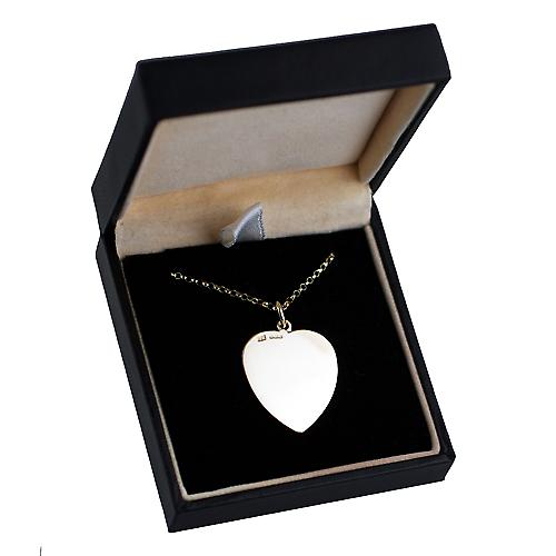 9ct Gold 24x21mm plain Heart disc with Belcher chain