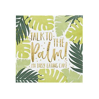 Tropical Leaf Patterned Paper Napkins x 20 Party Tableware 'Talk to the Palm'