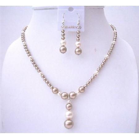 Bronze Pearls Swarovski with Cream Pearls Handcrafted Wedding Jewelry
