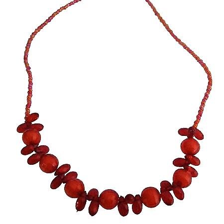 Striking Red Beads Girls Long Necklace