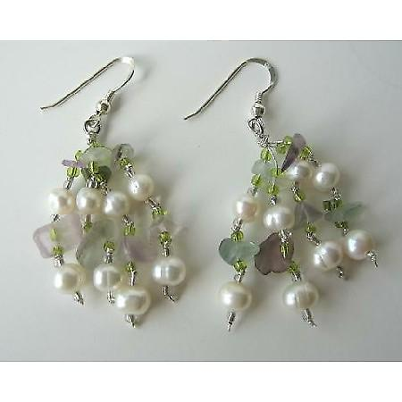 Freshwater Pearl Amethyst Green Stone Chip Beads Silver Earrings