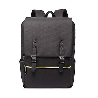 Backpack with details in synthetic leather and gold paint-Black