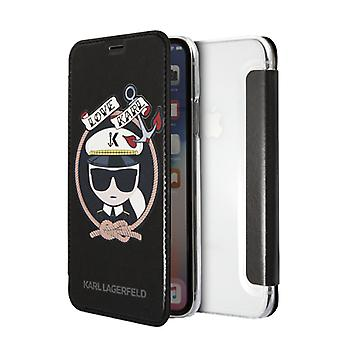 KARL LAGERFELD Karl and Chaupette skins for iPhone X/XS, flip case