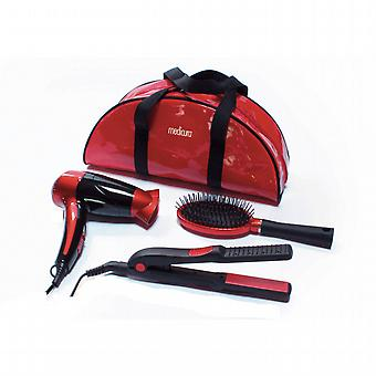 Set of travel hair dryer, brush and iron.