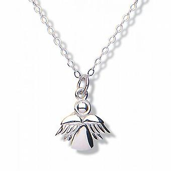 Jo For Girls Sterling Silver Guardian Angel Pendant Necklace 14