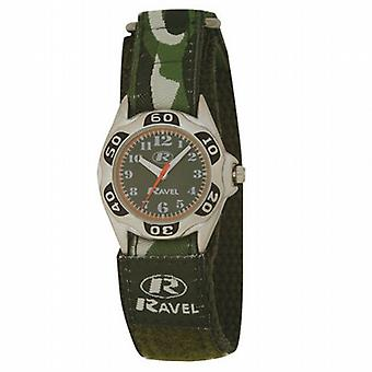 Ravel Boys Green Army Camouflage Fabric Easy Fasten Strap Watch R1507.05
