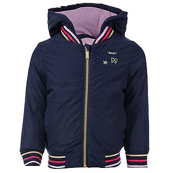 Junior Girls Bench Nylon Hooded Jacket In Navy- Zip Fastening- Ribbed Cuffs, Hem