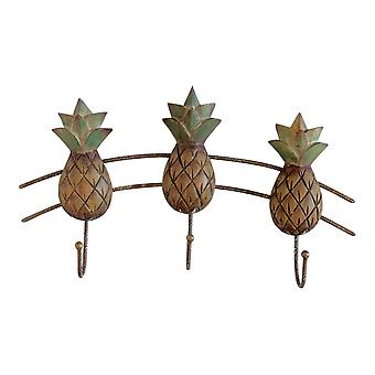 Carved Pineapples Triple Wall Hooks Wood and Metal 11 Inches