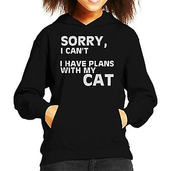 Sorry I Cant I Have Plans With My Cats Kid's Hooded Sweatshirt