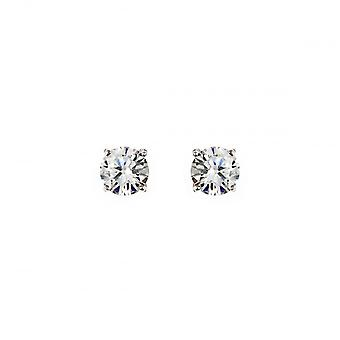Eternity Sterling Silver 6mm Cubic Zirconia Stud Boucles d'oreilles