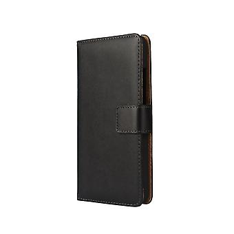 Wallet cover Huawei Honor 7i, genuine leather, black