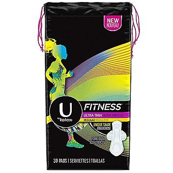 U by kotex fitness ultra thin, wings, regular, unscented, 30 ea x 4 ea