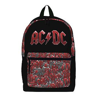 AC/DC ryggsäck väska Classic band logo all over Print ny officiell svart