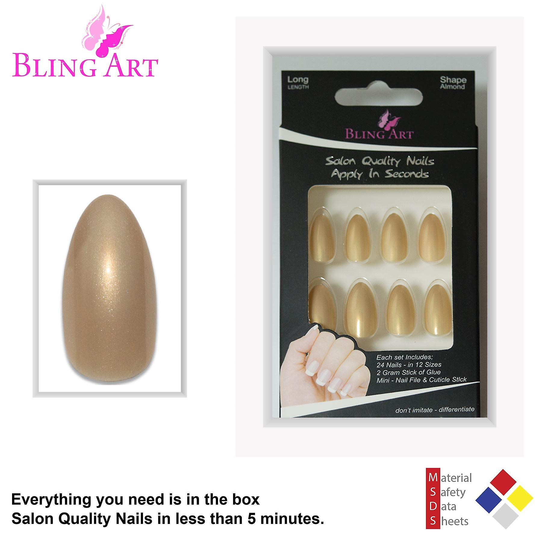 False nails by bling art gold glitter almond stiletto 24 fake long acrylic tips