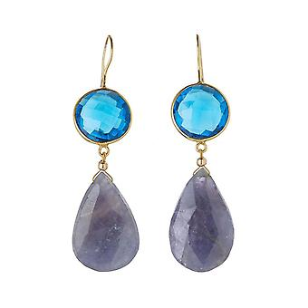 Gemshine earrings with blue topazes and iolite gemstone drops. 925 Silver high-quality gold-plated