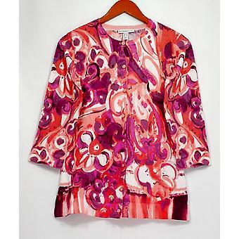 Isaac Mizrahi Live! Women's Sweater Engineered Paisley Print Pink A292077