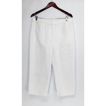Dennis Basso Pants Double Weave Pull-On Capri White A307220