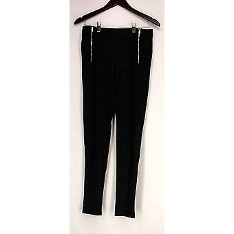 Kate & Mallory Leggings High Density Knit Front Zippers Charcoal Gray A426783
