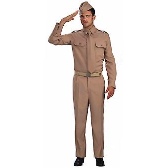 World War Two Private Soldier Army Officer Military General Mens Costume STD