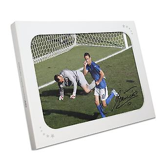 Francesco Totti Signed Italy Photo: World Cup Goal In Gift Box