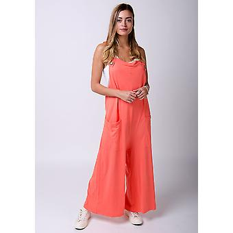 Amber loose fit jersey dungarees coral
